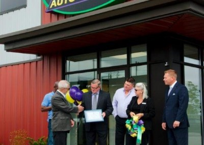 Mayor Adrian Foster and the Clarington council presenting the Owners of CCT with a certificate welcoming us.
