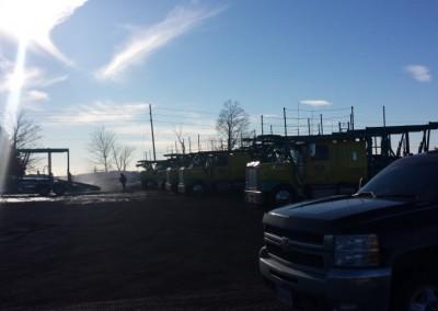 Trucks in yard wash